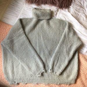 Nasty Gal Eyelash Knit/Chenille Gray Turtleneck